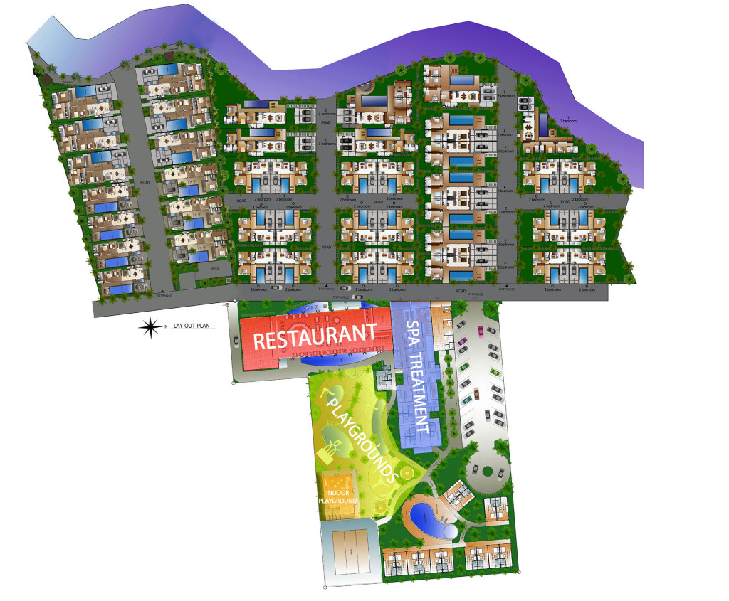 rawai vip villas project masterplan with park and other amenities