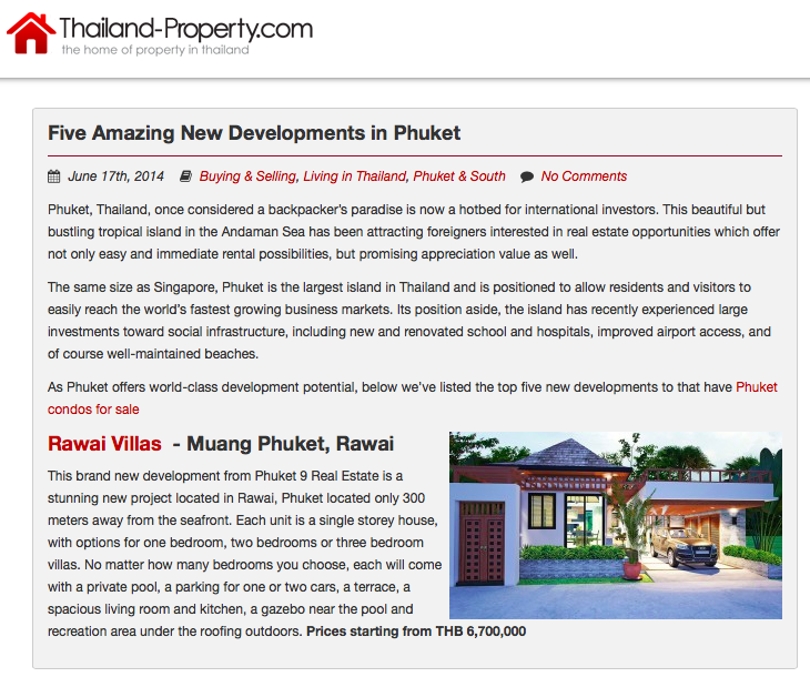 new developments in phuket