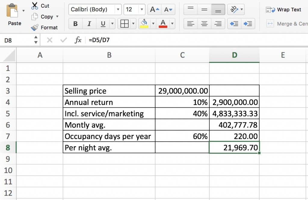 calculation of rental return