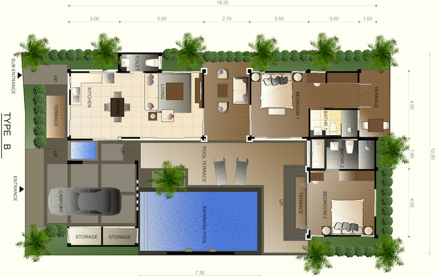 two bedroom villa floor-plan