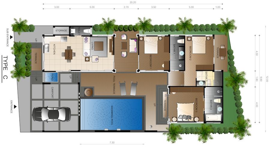 three bedroom villa for sale in Rawai