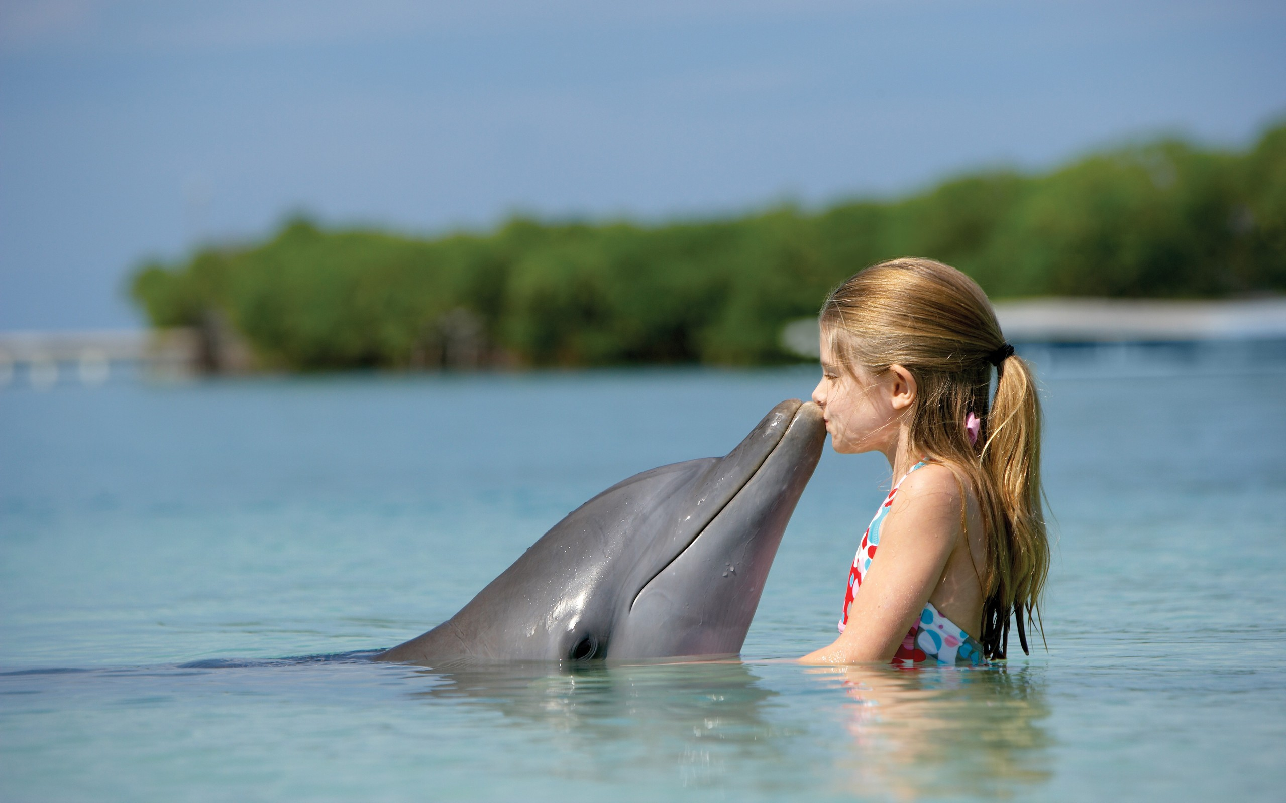 People___Children___Girl_kissing_Dolphin_054358_